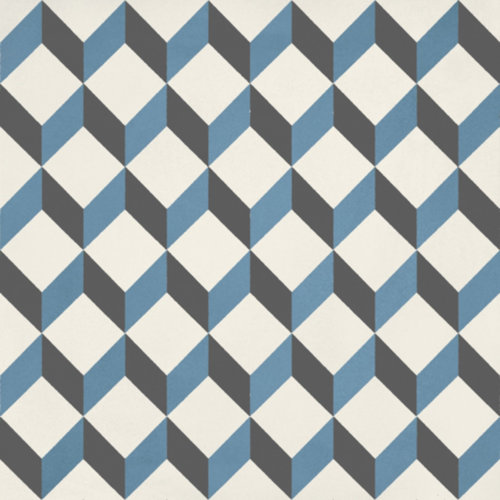 Portugese Vloertegel Jos Hidro Upsidedown Blauw 19.7x19.7 cm Prijs P/m2
