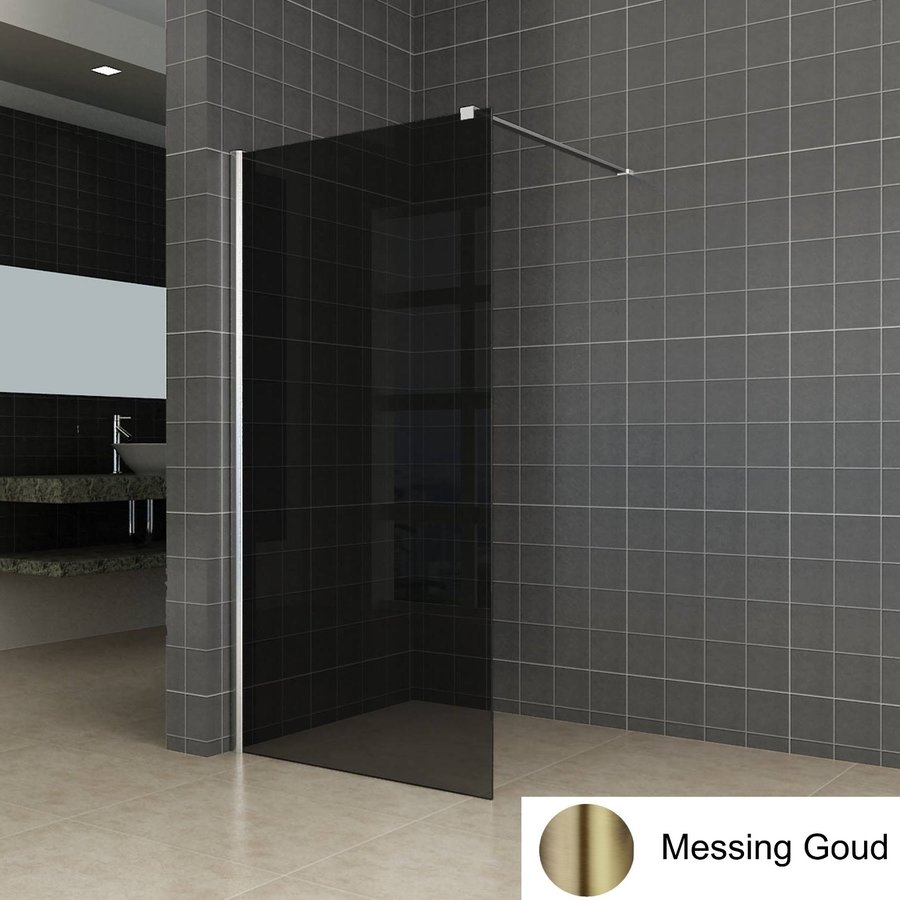 AQS Inloopdouche Pro Line Rookglas Geborsteld Messing Goud Profiel en Stang (ALLE MATEN)