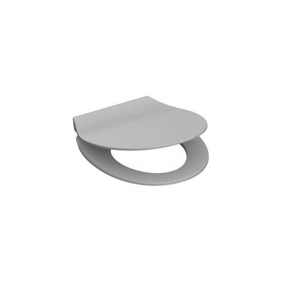 Toiletzitting Schutte Slim Grey Duroplast Ultra Dun Met Soft Close en Quick Release Gelakt Grijs