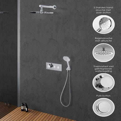 Inbouw Regendouche Push Button Set 2 Brauer ColdStart Round met Wandarm en Regendouche 30 cm