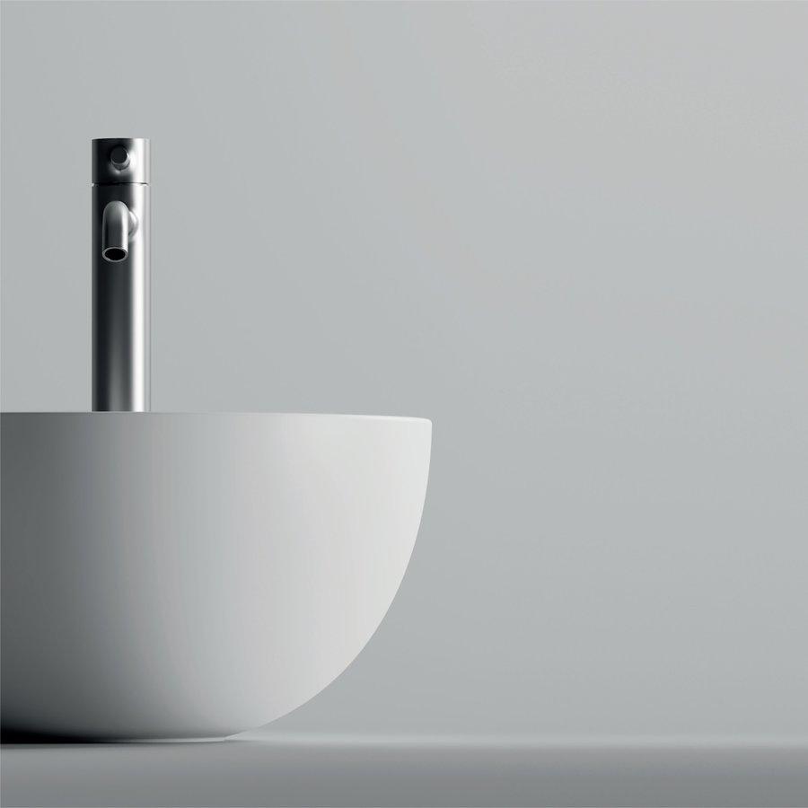 Ronde Wastafel Opbouw Salenzi Unica Round 40x20 cm Mat Wit (inclusief bijpassende clickwaste) - Copy