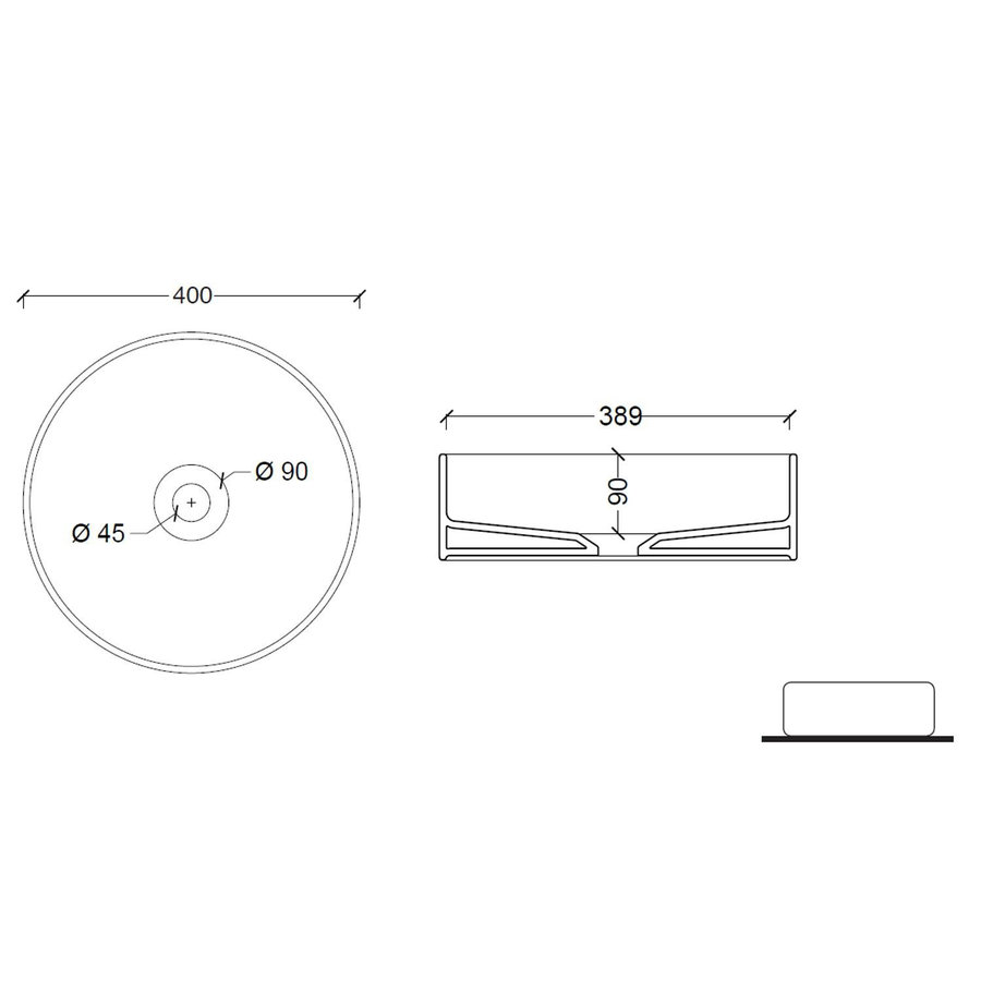 Opbouw Wastafel Salenzi Hide Circle 40x12 cm Mat Wit