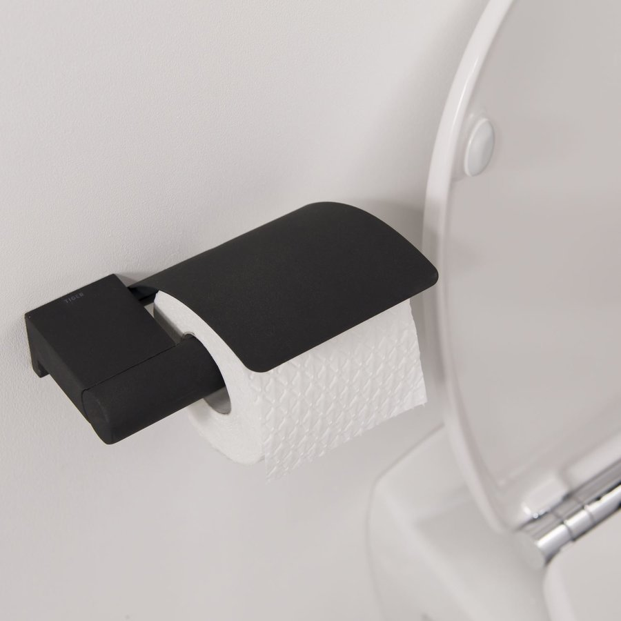 Toiletrolhouder Tiger Bold met Klep Zwart