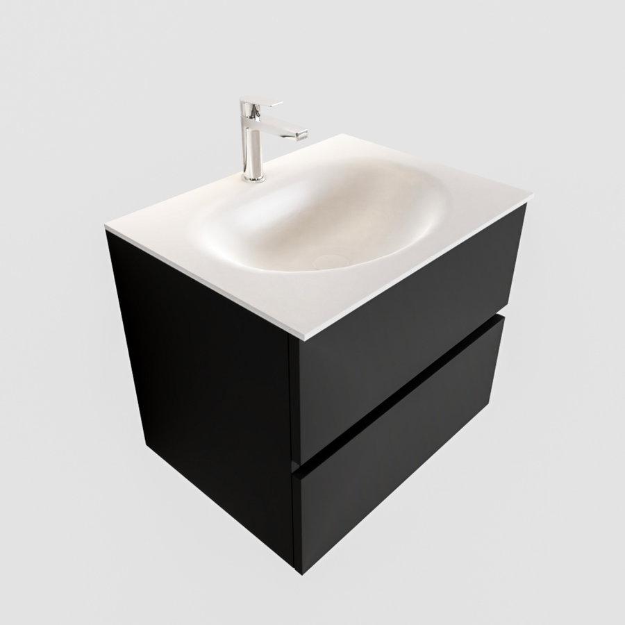Badkamermeubel Solid Surface AQS Stockholm 60x45 cm Mat Zwart Urban