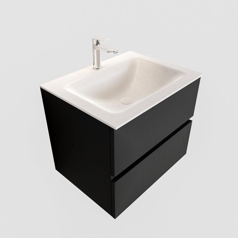 Badkamermeubel Solid Surface AQS Oslo 60x45 cm Mat Zwart Urban