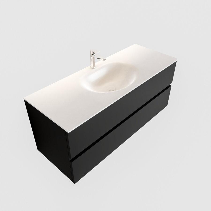 Badkamermeubel Solid Surface AQS Stockholm 120x45 cm Mat Zwart Urban (veertien varianten)