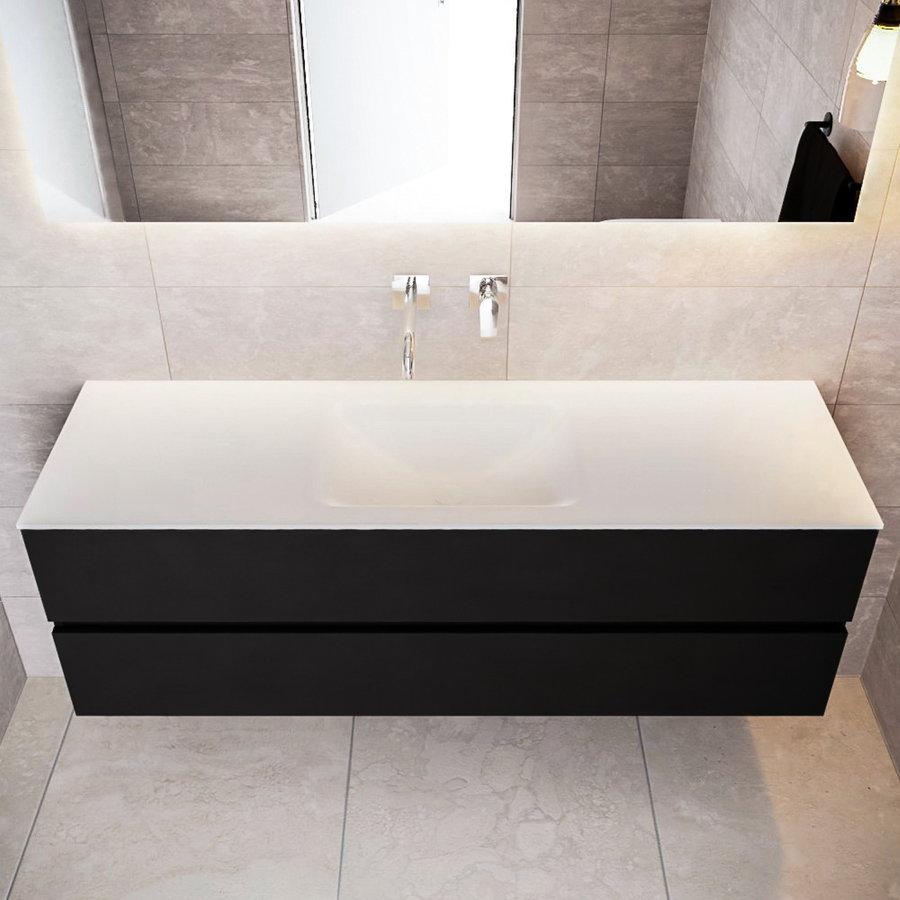 Badkamermeubel Solid Surface AQS Oslo 150x45 cm Mat Zwart Urban (veertien varianten)