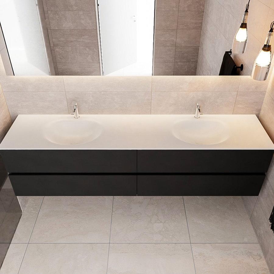 Badkamermeubel Solid Surface AQS Stockholm 200x45 cm Mat Zwart Urban (zes varianten)