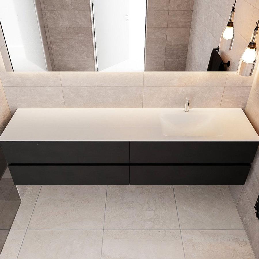 Badkamermeubel Solid Surface AQS Oslo 200x45 cm Mat Zwart Urban (zes varianten)