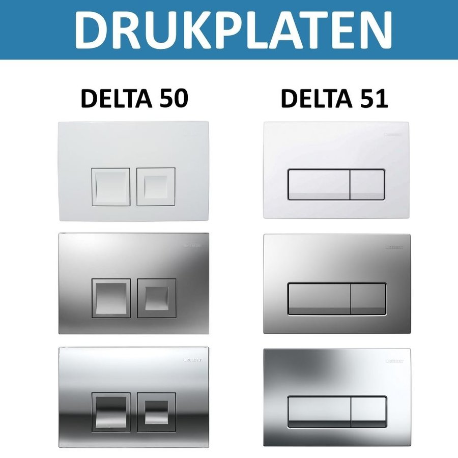 Geberit UP100 Toiletset set60 Bidet Wandcloset Isvea Sentiment met Delta Drukplaat