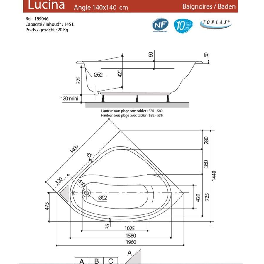 Allibert Whirlpoolbad LUCINA + Mantel TWINZEN 2 140x140x53,2-53,5 cm Wit