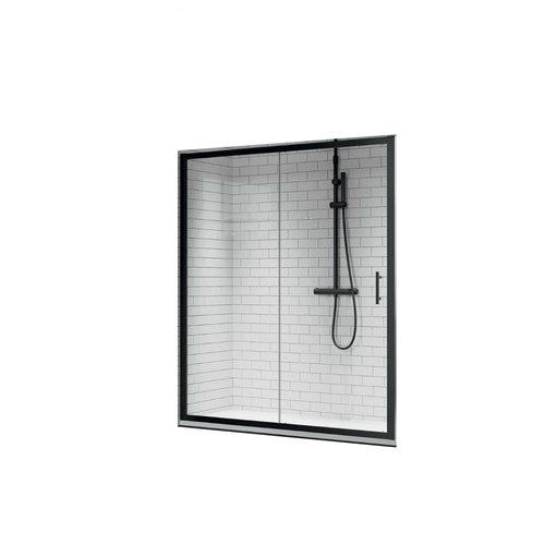 Schuifdeur Novellini Zephyros 2P Helder Glas 126x195 cm Mat Zwart Profiel