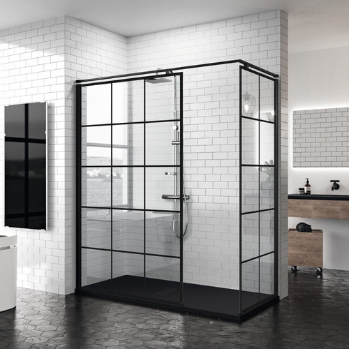 Inloopdouche Novellini Kuadra H Squares 100x200 cm Helder Glas Mat Zwart Raster