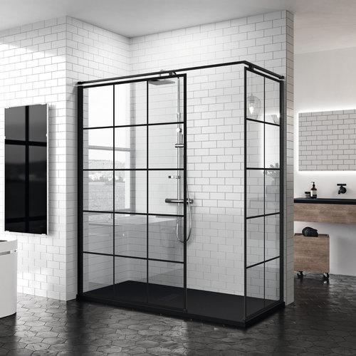 Inloopdouche Novellini Kuadra H Squares 140x200 cm Helder Glas Mat Zwart Raster