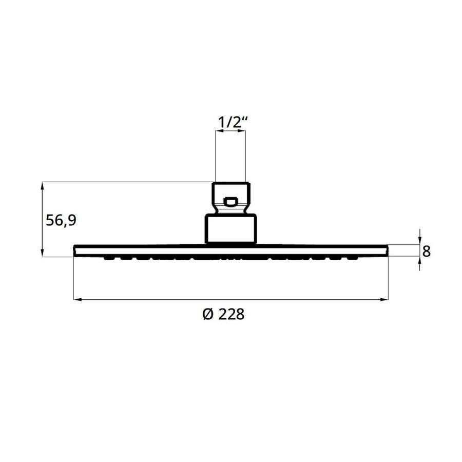 Hoofddouche voor Regendouche Herzbach Living Spa Rond 22,8 cm 1/2'' Chroom