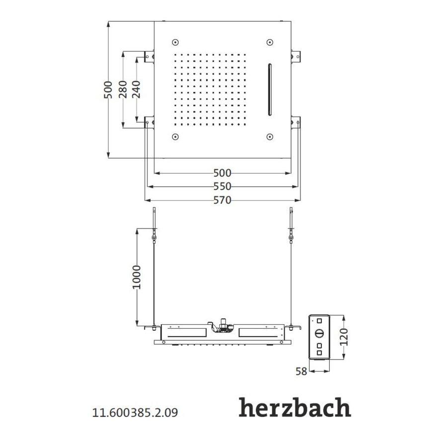 Hoofddouche met Kleur LED-Verlichting Herzbach Living Spa Gepolijst Chroom (drie standen)