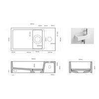 Fonteinset Differnz Mix En Match Solid Surface 36x18.5x9 cm Wit