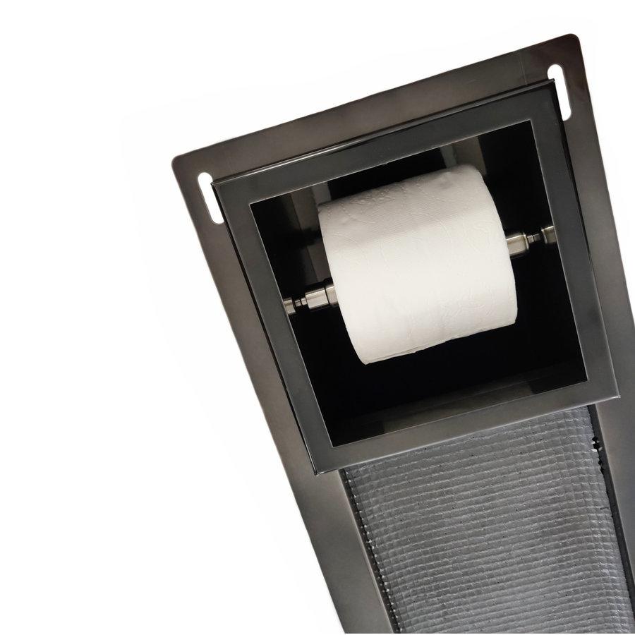 Inbouw Toiletrolhouder Wiesbaden met Reserve Rolhouder RVS Black Chrome