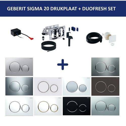 Bedieningsplaat Geberit Sigma 20 + DuoFresh Geurzuiveringssysteem Wit Met Vergulde Designringen