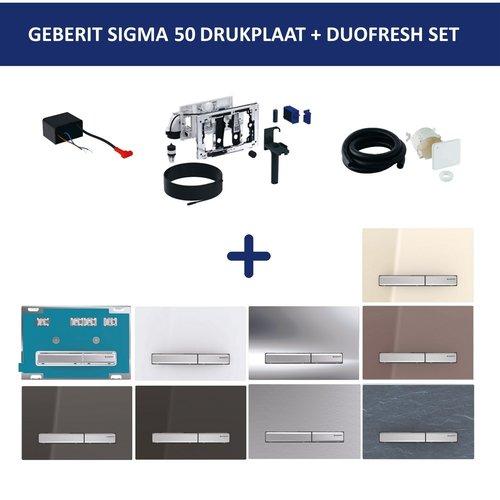 Bedieningsplaat Geberit Sigma 50 DF + DuoFresh Geurzuiveringssysteem Geborsteld Chroom