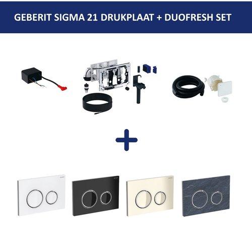 Bedieningsplaat Geberit Sigma 21 + DuoFresh Geurzuiveringssysteem Glas Zand Grijs