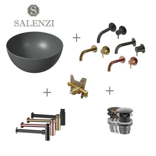 Salenzi Waskomset Unica Round 40x20 cm Mat Antraciet (Keuze uit 4 Kleuren Kranen)