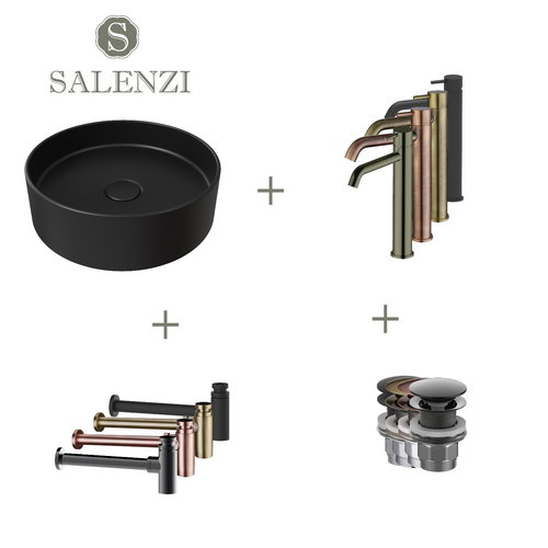 Salenzi Waskomset Hide Circle 40x12 cm Incl Hoge Kraan Mat Zwart (Keuze Uit 4 Kleuren Kranen)