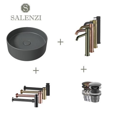 Salenzi Waskomset Hide Circle 40x12 cm Incl Hoge Kraan Mat Antraciet (Keuze Uit 4 Kleuren Kranen)