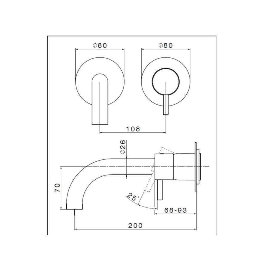 Salenzi Waskomset Form 45x12 cm Mat Wit (Keuze Uit 4 Kleuren Kranen)