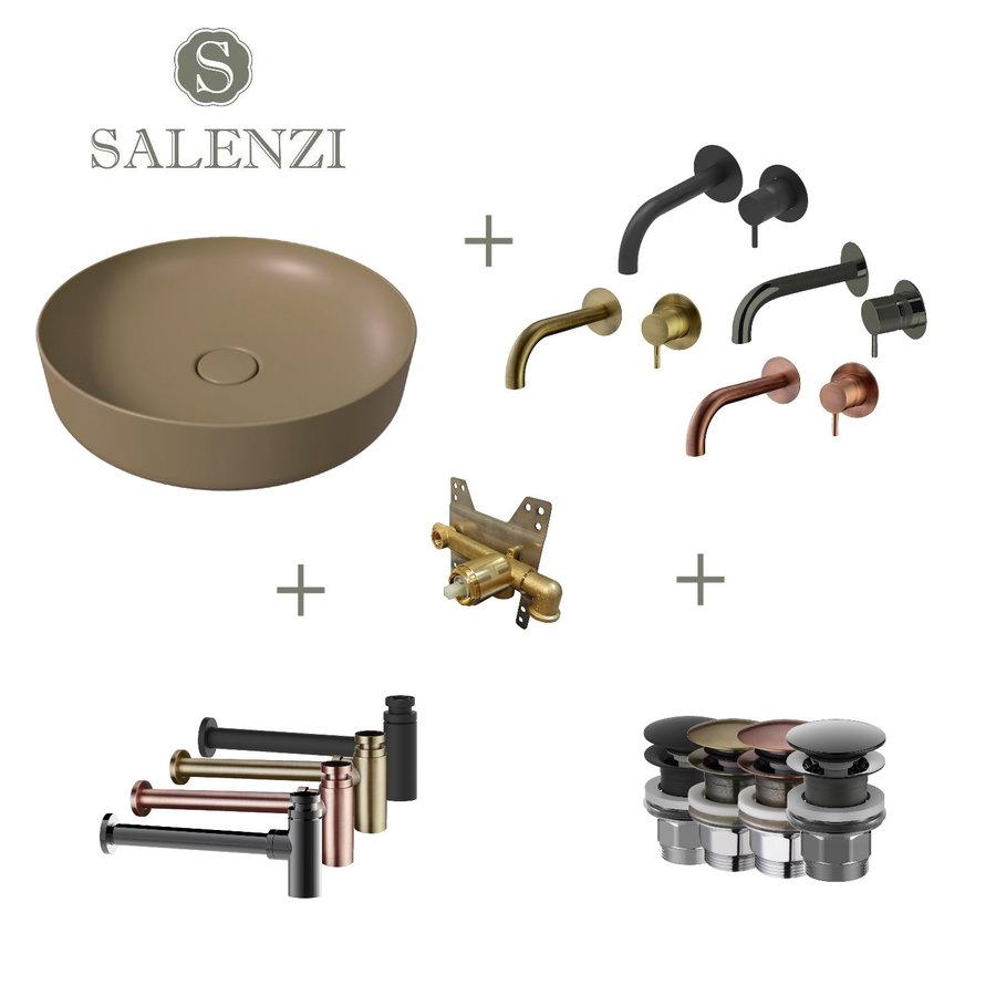 Salenzi Waskomset Form 45x12 cm Mat Beige (Keuze Uit 4 Kleuren Kranen)
