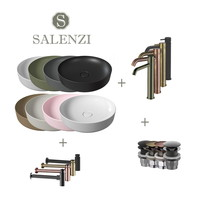 Salenzi Waskomset Form 45x12 cm Inclusief Hoge Kraan (Keuze Uit 8 Kleuren)