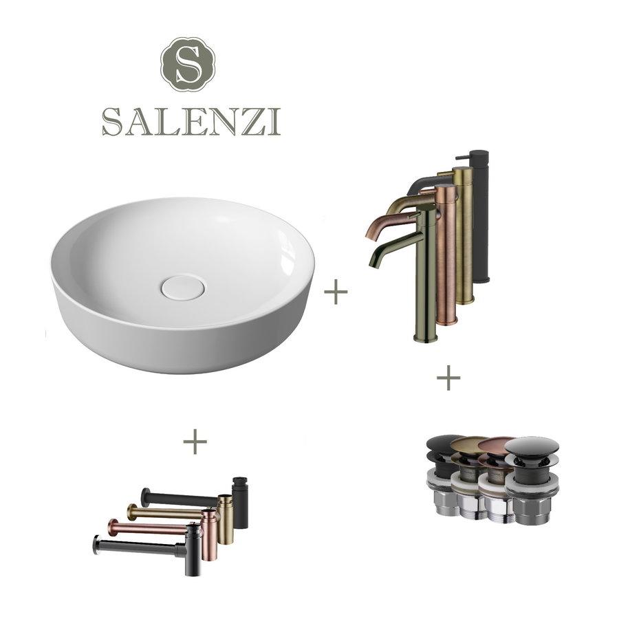 Salenzi Waskomset Form 45x12 cm Incl Hoge Kraan Glans Wit (Keuze Uit 4 Kleuren Kranen)