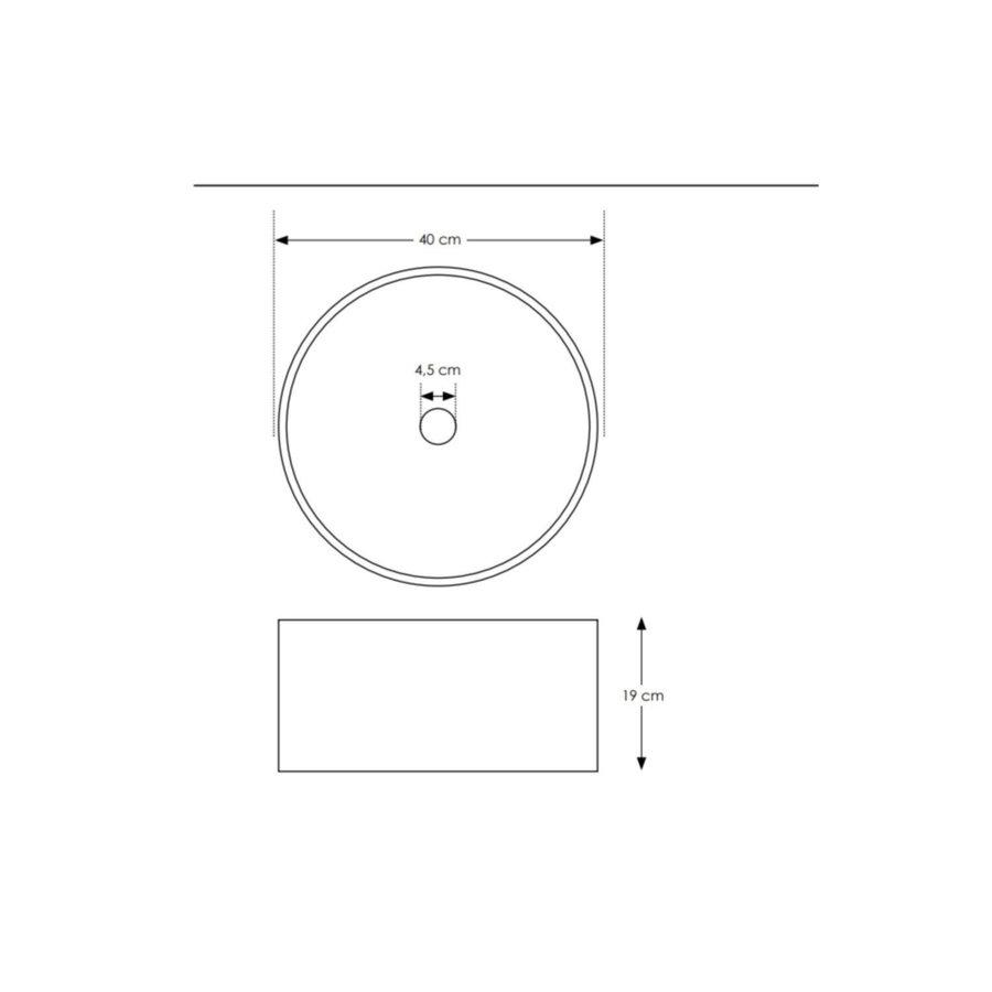Salenzi Waskomset Beton 40x19 cm Rond Mat Grijs (Keuze Uit 4 Kleuren Kranen)