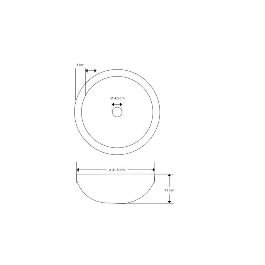 Salenzi Waskomset Beton 41,5x12 cm Rond Mat Grijs (Keuze Uit 4 Kleuren Kranen)