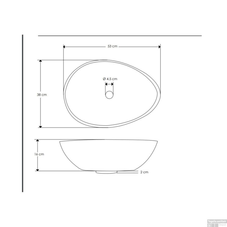 Salenzi Waskomset Beton 53x38x16 cm Ovaal Mat Grijs (Keuze Uit 4 Kleuren Kranen)