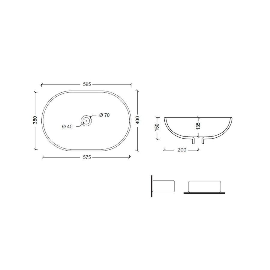 Salenzi Waskomset Joker 59.5x40x15 cm Ovaal Mat Wit (Keuze Uit 4 Kleuren Kranen)