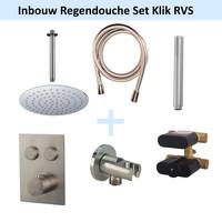 Inbouw Regendouche Set Klik 2-Wegs RVS (Plafonduitloop)