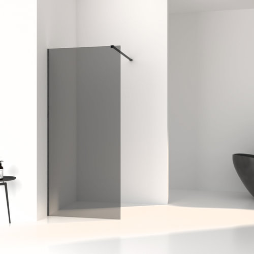 Inloopdouche Aqua Splash Slim Rookglas Anti-Kalk Coating Black Brushed Profiel (zes varianten)