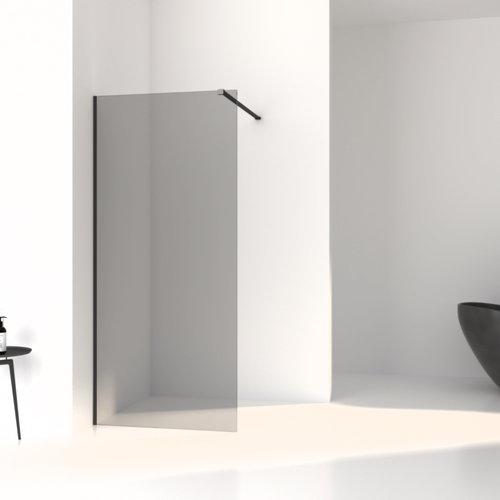 Inloopdouche Aqua Splash Slim Rookglas Anti-Kalk Coating Black Chrome Profiel (zes varianten)