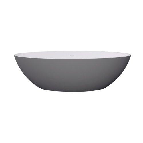 Vrijstaand Ligbad Best Design New Stone Dicolor 180x85x52 cm Solid Surface Grijs / Mat Wit