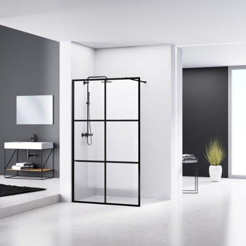 Douchewand Van Rijn ST04 Helder Glas 8 mm 6 delen Aluminium Profiel Zwart 110x200 cm