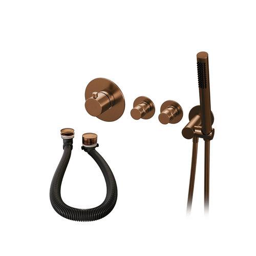 Inbouwthermostaatset Brauer Copper Incl Staafhanddouche En Badafvoer Koper