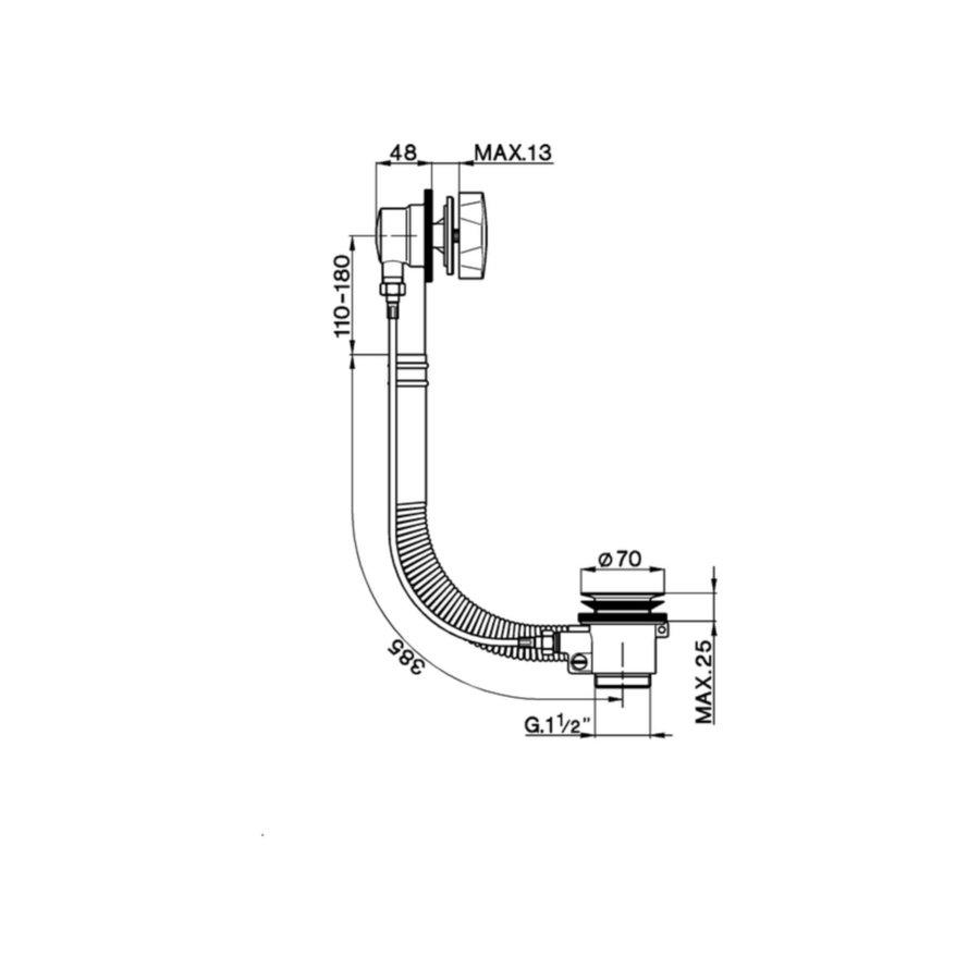 Badafvoer met Vulcombinatie Salenzi Giro Gegalvaniseerd Geborsteld Messing Koper 48 mm