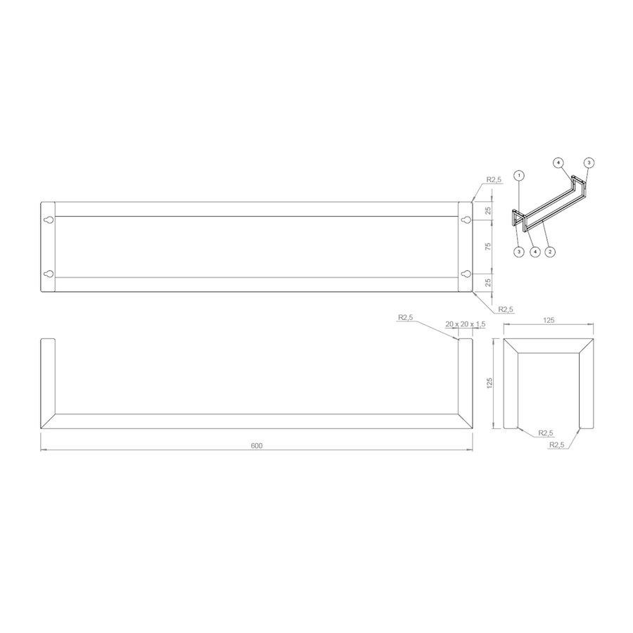 Handdoekenrek Klein BWS Industrieel 60x12.5x12.5 cm Mat Zwart