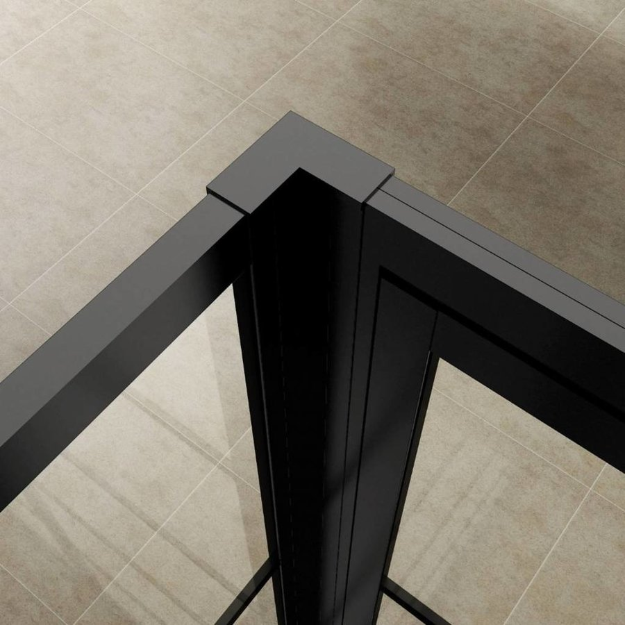 AQS Nisdeur Frame met Vast Paneel 90x200 cm 8 mm NANO Glas Mat Zwart Raster