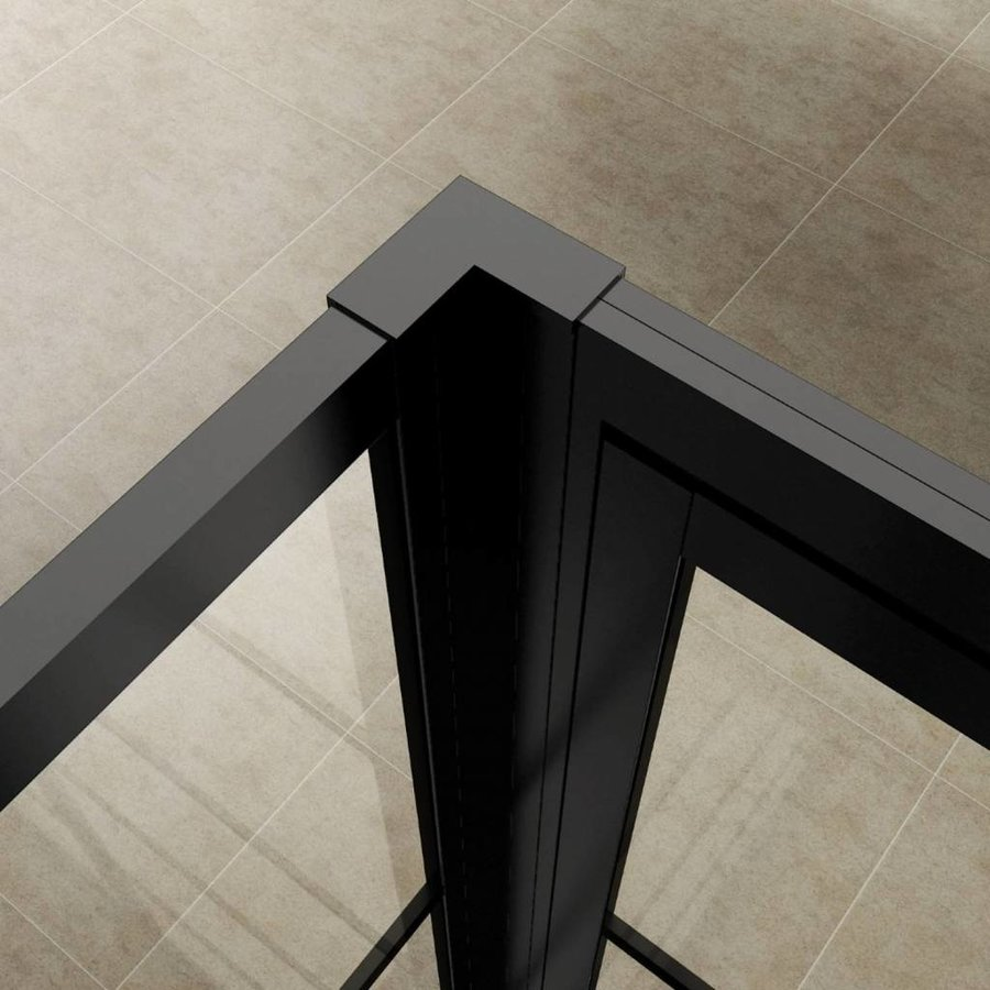 AQS Nisdeur Frame met Vast Paneel 80x200 cm 8 mm NANO Glas Mat Zwart Raster