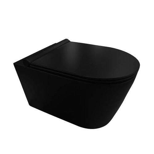 Wandcloset AQS Black 50x35x36.5cm Keramiek Rimless Mat Zwart (Incl. zitting)