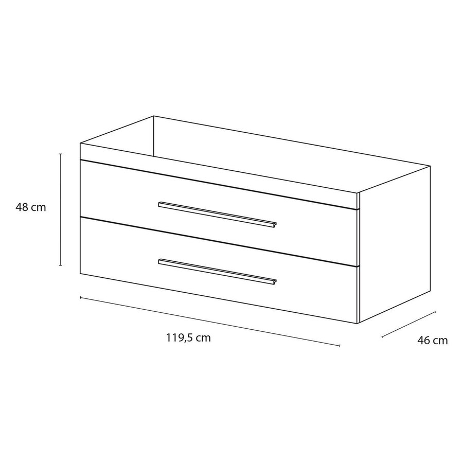 Onderkast Differnz Style 120x46cm Grijs Eiken