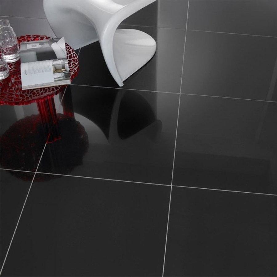 Vloertegel Profiker Zwart Hoogglans Gepolijst 60x60cm (Doosinhoud 1,44m²)