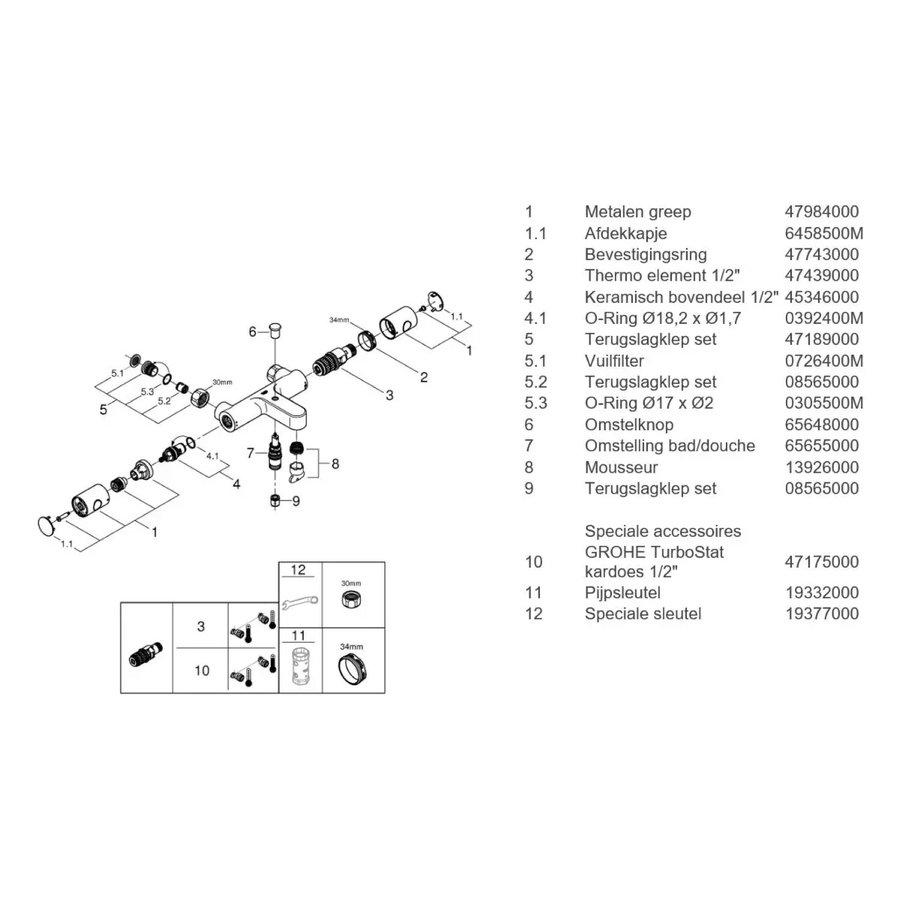 Badkraan Grohe Grohtherm Opbouw Thermostaat 800 Cosmopolitan Hoh 15 cm Chroom